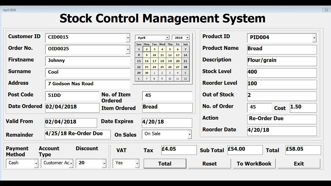How To Create Stock Control Management System In Excel
