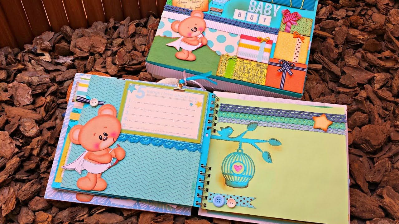 Decorar Album Scrap Album Bebe Oso Decoracion De Hojas Parte 2 Scrapbook