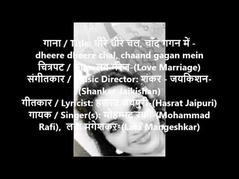 #dheere Dheere Chal Chand Gagan Mein# #karaoke Track With Female Vocals#