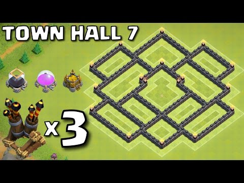 BEST TH7 Hybrid Base with 3 Air Defences No King V2 - Clash of Clans CoC