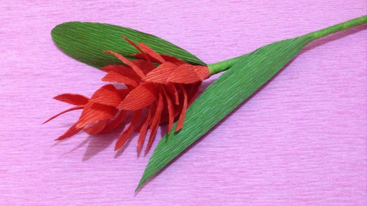 How To Make Red Ginger Crepe Paper Flowers Flower Making Of Crepe
