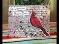 Christmas Cardinal on Paste  Embossed Mercury Glass Designer Acetate