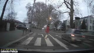 Ominął stojące auto i prawie potrącił pieszego na pasach w Gubinie
