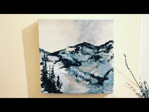 Abstract landscape mountains view painting