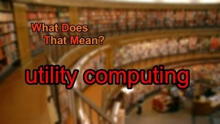 What does utility computing mean?