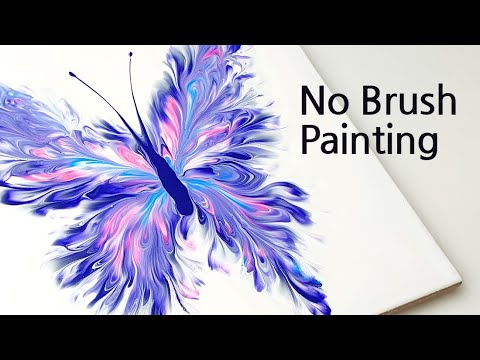 Download (439) Beautiful butterfly | Plastic wrap smash | Fluid Acrylic for beginners | Designer Gemma77