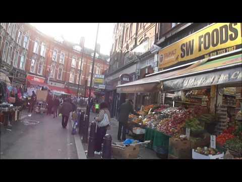 Walking through Brixton Street Market, South London on market day & non market day.
