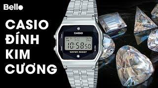 Ship COD An Giang: Casio A159WAD-1 đính kim cương cực đẹp!