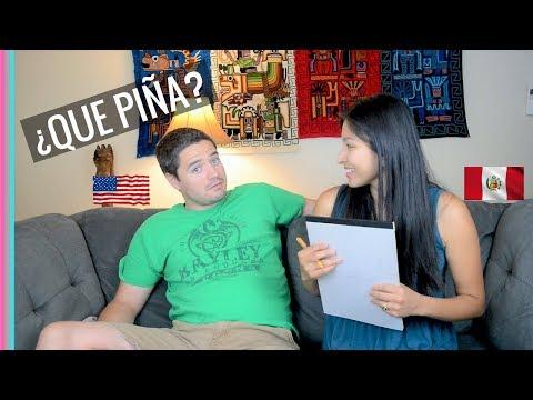 Enseñando FRASES PERUANAS A MI ESPOSO | Estadounidense Hablando Español