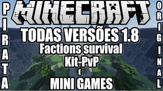 Server de Minecraft 1.8/1.8.3/1.8.4 PIRATA ORIGINAL Factions,survival,Kit/PvP e Minigames