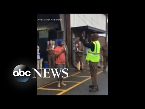 UPS employees deliver surprise package to co-worker