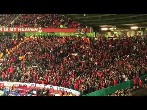 Benfica fans at Old Trafford after their team lost to Manchester United