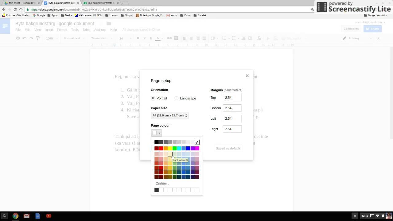 Byt Bakgrundsfärg I Google Dokument YouTube - Google dokument