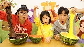 보람이와 코난 또치 초거대 수박 슬라임 만들기 놀이 Boram giant watermelon slime kids toys play