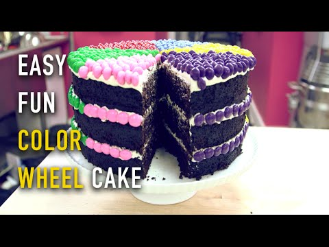 How To Make A COLOR WHEEL CAKE With SMARTIES An Easy DIY - Colorful diy kids cakes
