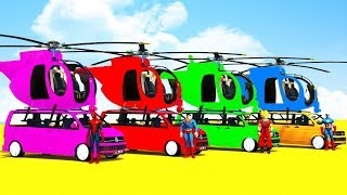FUN LEARN COLORS HELICOPTER on VAN Cars - Spiderman Superheroes for Kids Babies Nursery Rhymes
