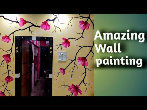 Wall painting flower design// Indian art & craft