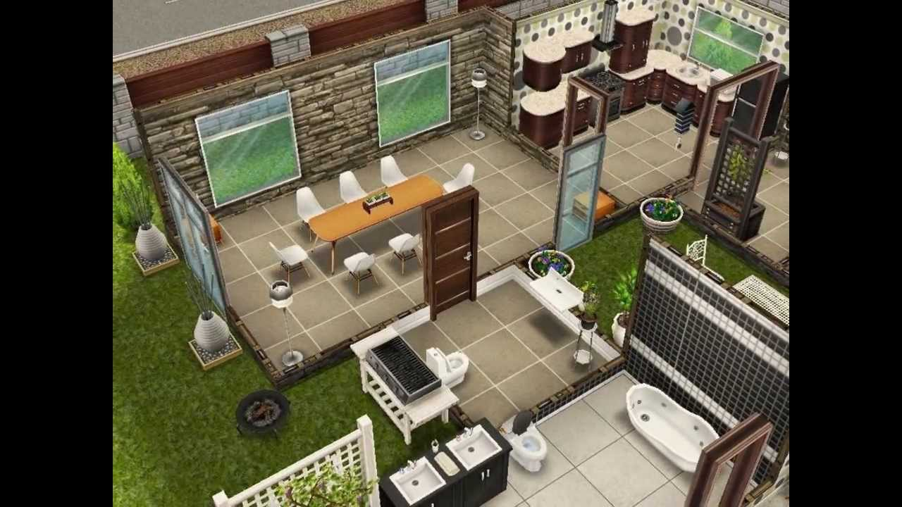 Sims freeplay scandinavian house youtube for Casa de diseno sims freeplay