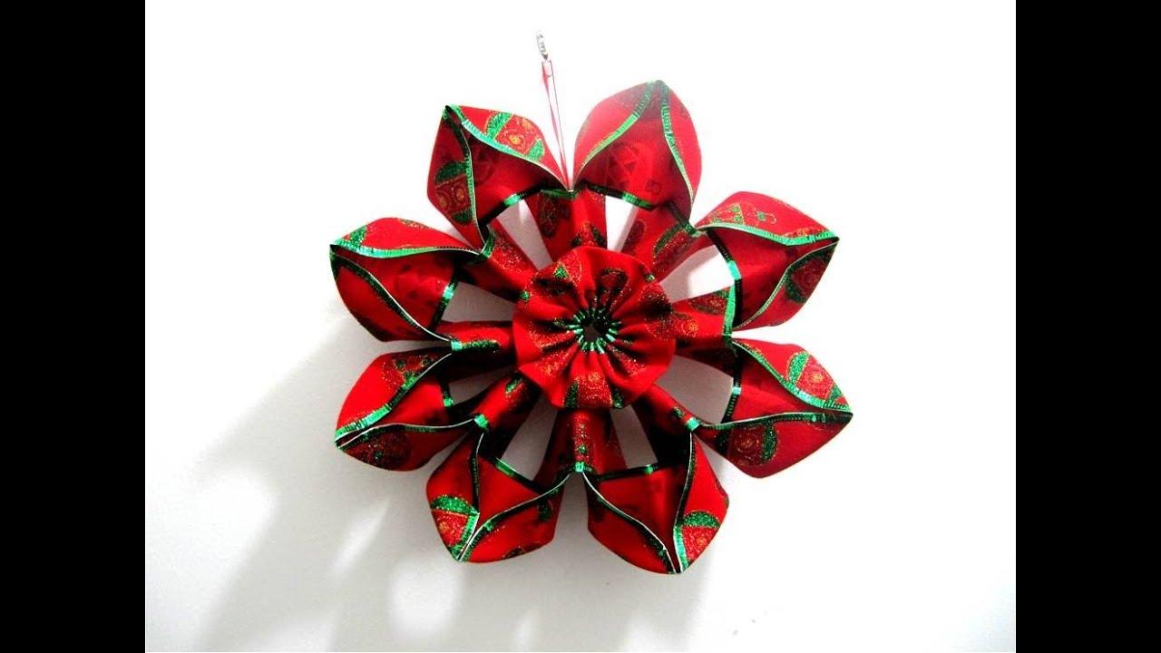 Moños Flores Navideñas En Cintas Christmas Flowers In Ribbons Bows Youtube