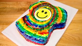 T-Shirt Shaped Rainbow Tie-Dye Cake from Cookies Cupcakes and Cardio
