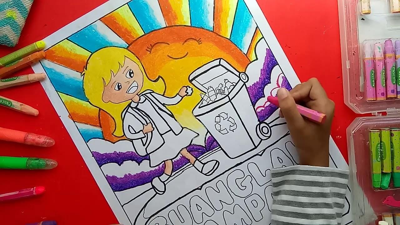 Mewarnai Gambar Tema Kebersihan Lingkungan PR Sekolah Zahra Part 2