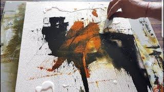 Demonstração de pintura abstrata fácil em acrílicos