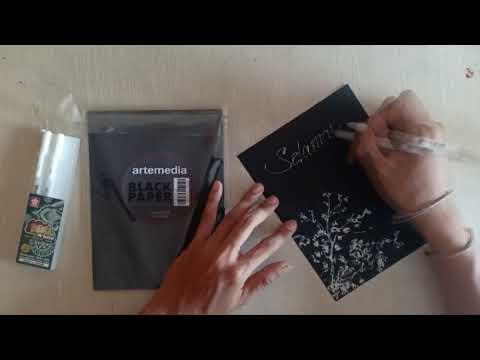 DIY Kartu Ucapan Selamat Idul fitri dengan Arte Black Paper & Gelly Roll White