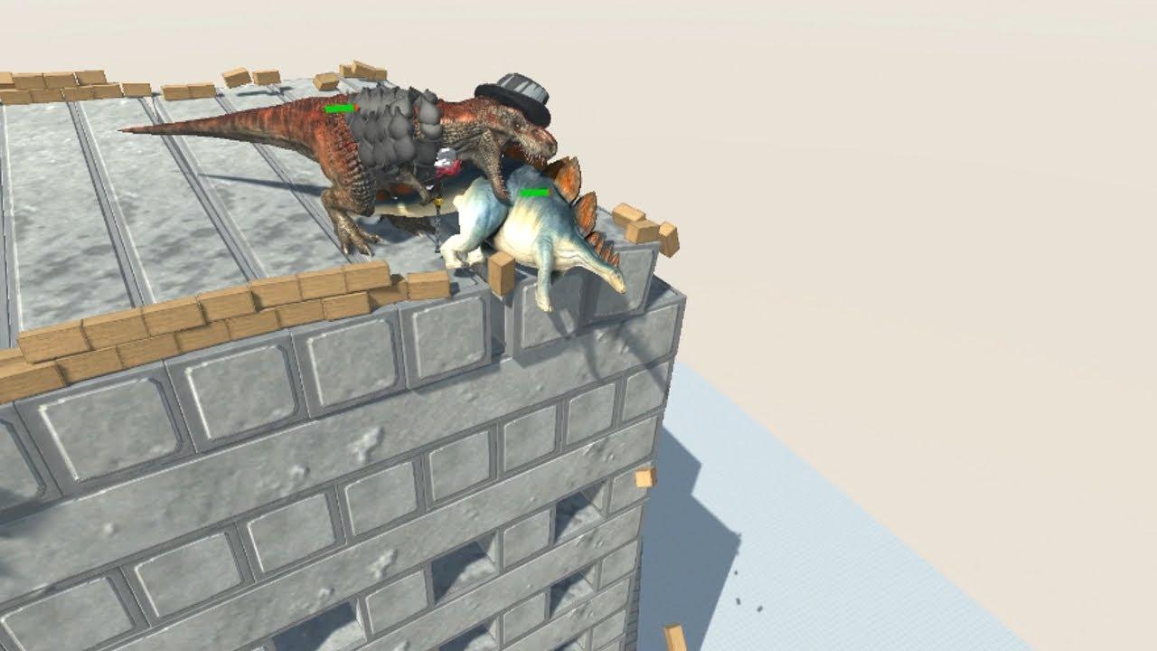 Gentleman T-REX with Health Bar on Wobbly Building vs ALL UNITS Animal Revolt Battle Simulator