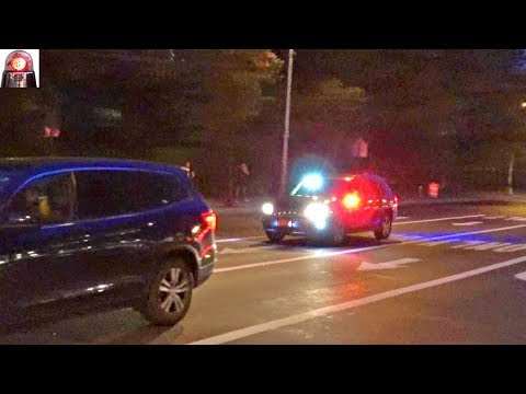 Unmarked Jeep Emergency Police (NYPD?) Car Responding Urgently Lights and Sirens New York City