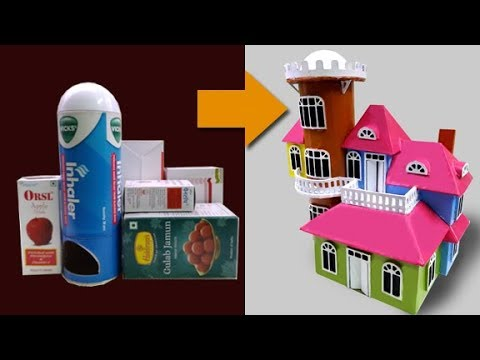 Make a Small European House using | Cardboard Boxes | school project | Simple DIY | Guggu Kids
