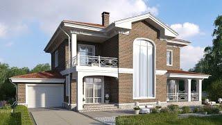 Проект дома в современном стиле из кирпича. Дом с гаражом, терраса и балконы. Ремстройсервис KR-374