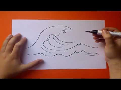 Como dibujar una ola paso a paso | How to draw a wave Videos De Viajes