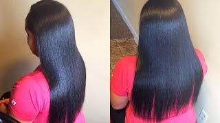 Silk Press On Long Jet Black Natural Hair