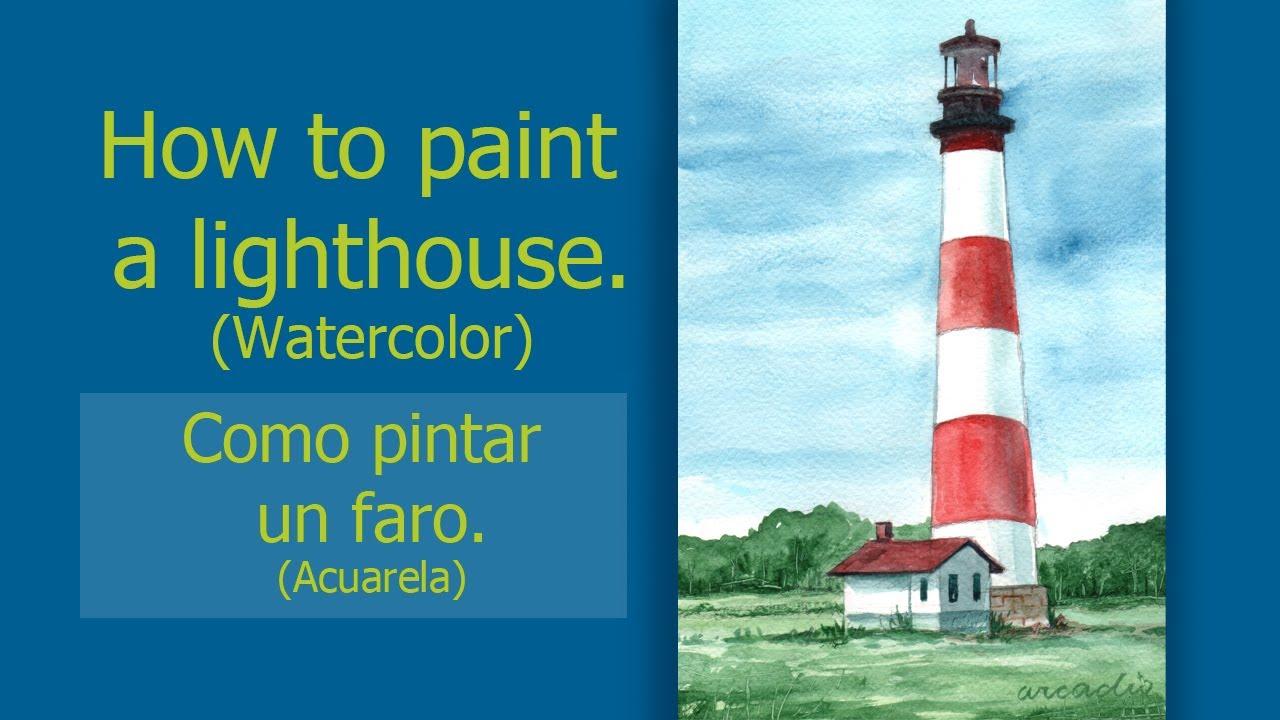 How to paint a Lighthouse /Como pintar un faro. - YouTube