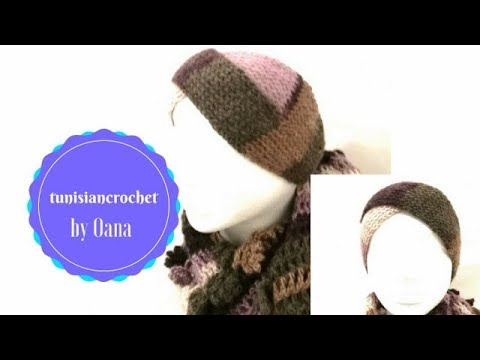 Tunisian crochet turban head band by Oana