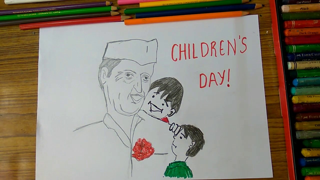 How To Draw Children S Day Poster Chacha Nehru With Kids Step By