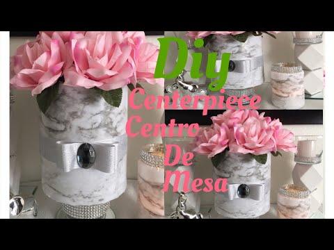 DIY centerpiece centro de mesa tipo mármol y reciclando frascos