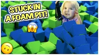 TODDLER STUCK IN A FOAM PIT!  CAN JAYLA DO A FRONT FLIP ON A TRAMPOLINE?!