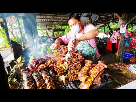 Thai Street Food - EXTREME BBQ MEAT TOUR in Chiang Mai, Northern Thailand | Thai Sausage and Laap!