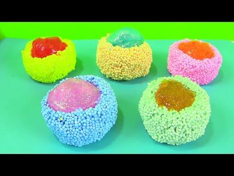 5 Ly Kem Slime Foam Màu Sắc /Làm Ly Kem Bằng Slime Kết Hợp Play Foam / Ice Cream Foam Slime