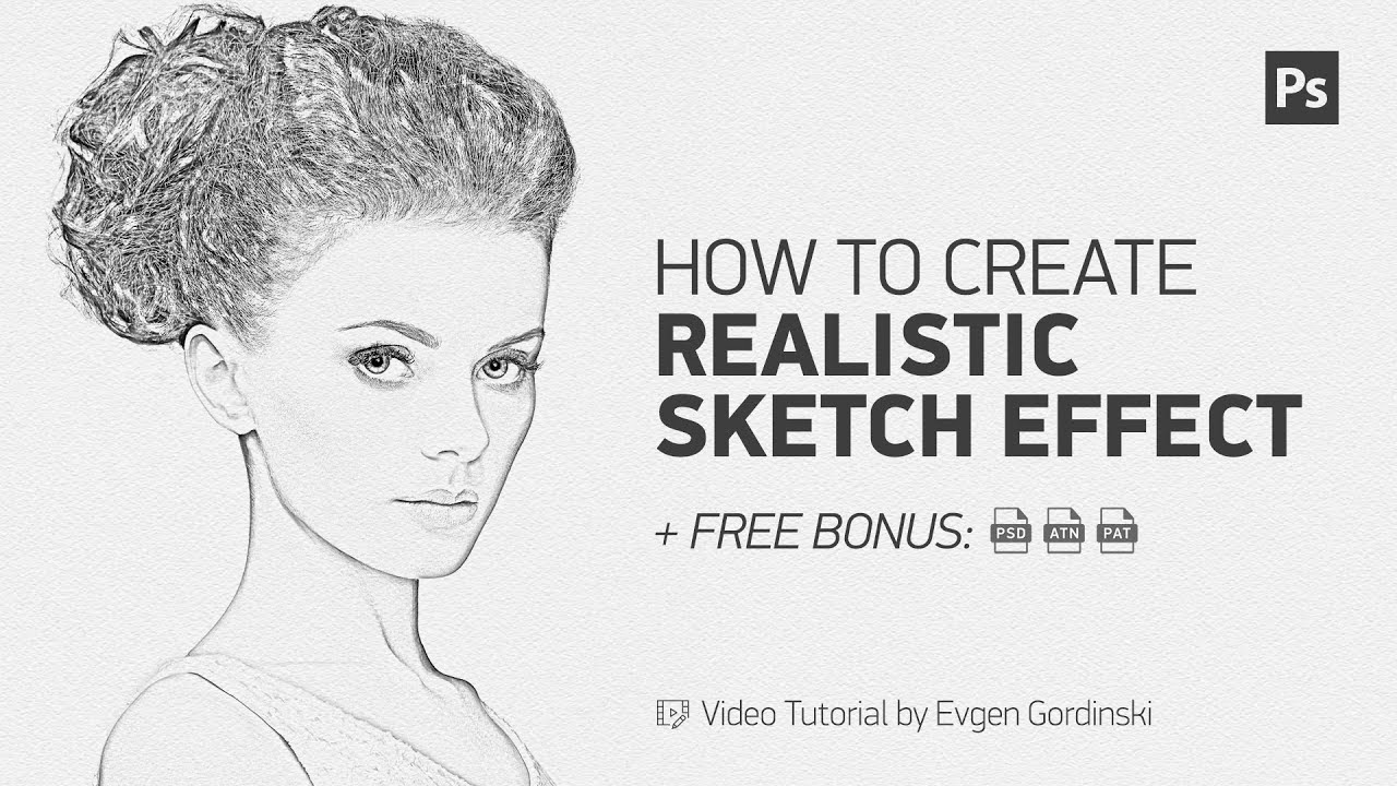 Realistic sketch effect free action psd photoshop tutorial
