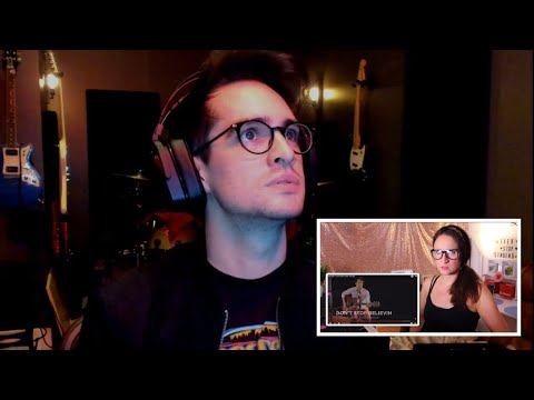 "BRENDON URIE REACTING TO ""REBECCA VOCAL ATHLETE"" REACTING TO HIM"