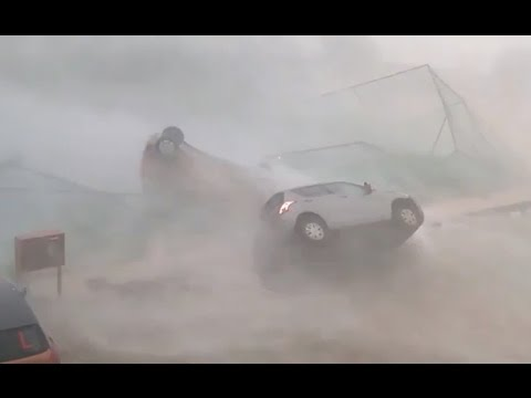 Cyclone Topples Cars in India