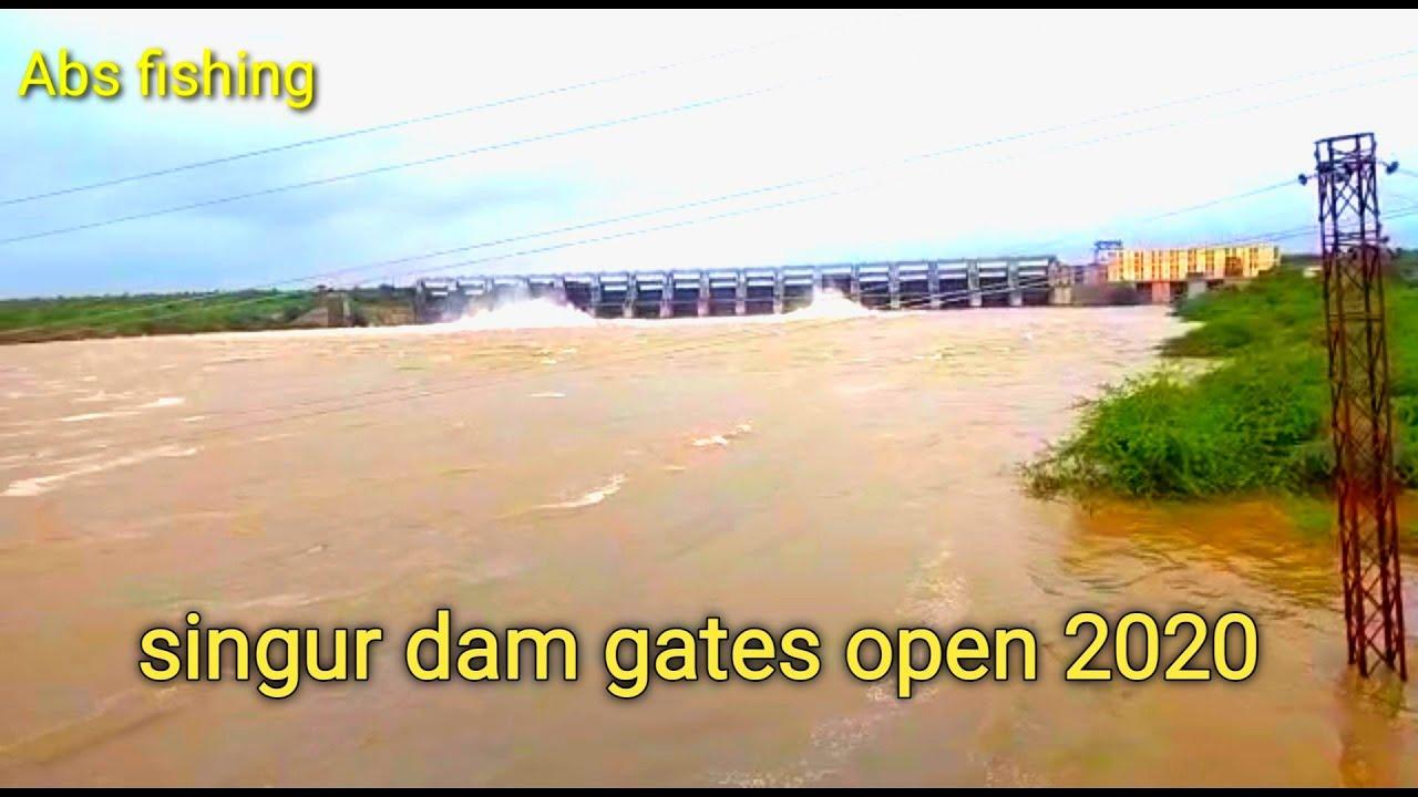Singur dam four gates open high water level in singur sangareddy pulkal Mandal