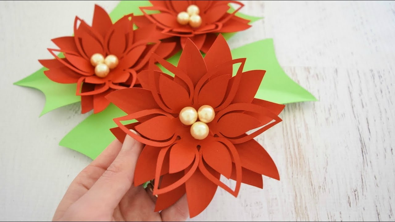 diy christmas poinsettia paper flower tutorial   holly