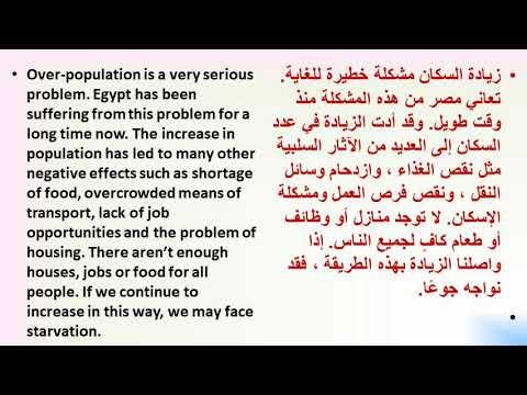 الآثار السلبية للزيادة السكانية باللغة العربية والانجليزيه للمشروع البحثي للصف الثالث الاعدادى Youtube