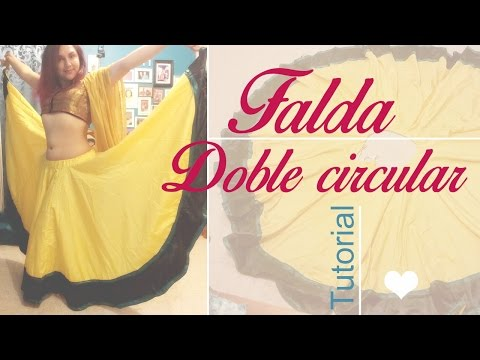 3329a3f66 Ropa Hindú ~ Lehenga doble circular ~ Tutorial - YouTube