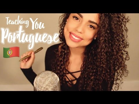 ASMR Teaching You PORTUGUESE {{ whispered }} {{ writing on paper }}