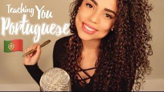ASMR Teaching You PORTUGUESE {{ whispered }} {{ writing on p...