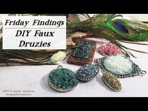 DIY Faux Druzies-Druzy Jewelry Pendants-Friday Findings Tutorial